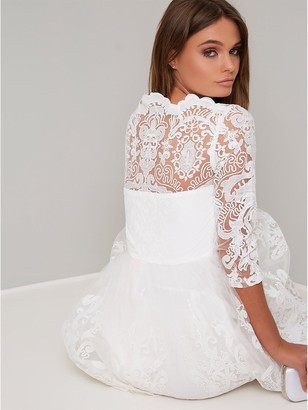 Chi Chi London Flore Lace Top Skater Dress - White