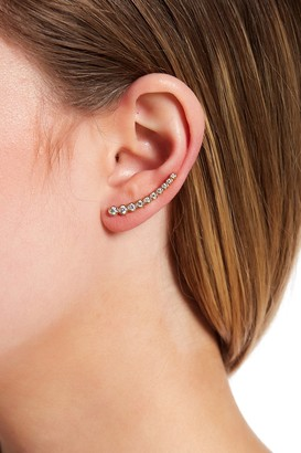 ADORNIA 14K Yellow Gold Plated Bezeled Swarovski Crystal Accented Ear Climber - Set of 2