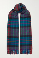 Thumbnail for your product : Johnstons of Elgin + Net Sustain Fringed Tartan Cashmere Scarf - Blue