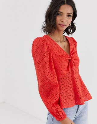 Asos Design DESIGN long sleeve v neck broderie top with twist front detail-Red