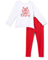 Beary Basics Red 'Little X-Mas' Long-Sleeve Tee & Leggings - Toddler & Girls
