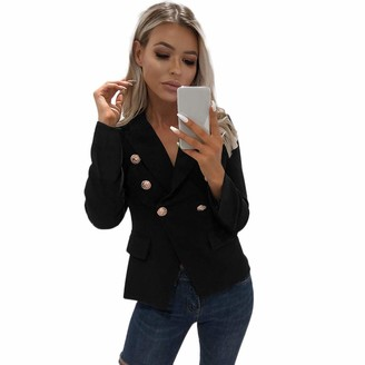 Kalorywee Sale Cleance Blazer KaloryWee Blazer with Gold Buttons Womens Fitted Lightweight Cropped Shrug Open Blazer V Front Jacket