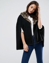 Asos Cape With Faux Fur Collar