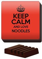 RED Set of 4 Keep Calm and Love Noodles Coaster COLOUR 2707