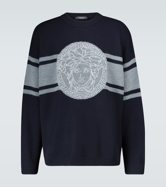 Versace Knitted wool intarsia sweater