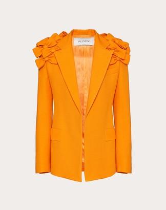 Valentino Embroidered Crepe Couture Blazer Women Orange Virgin Wool 65%, Silk 35% 38