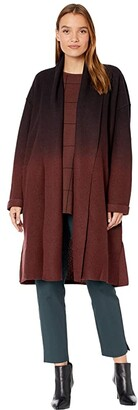 Eileen Fisher High Collar Coat with Ombre (Brown Stone) Women's Clothing