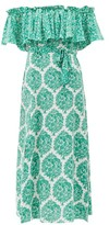 Beulah - Aaasha Floral-print Silk Midi Dress - Womens - Green White