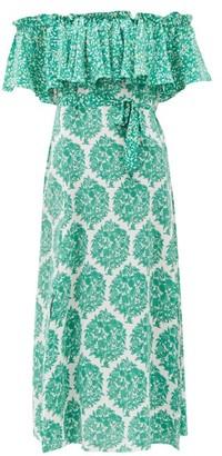 Beulah Aaasha Floral-print Silk Midi Dress - Green White