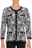 Karl Lagerfeld Paris Floral Pocket Cardigan