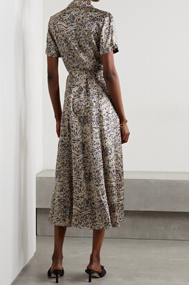 HVN Long Maria Printed Silk-satin Midi Shirt Dress - Animal print