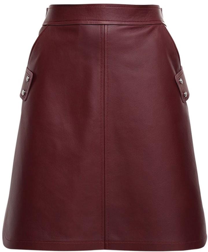 Sportmax Leather A Line Mini Skirt