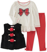 Kids Headquarters 3 Pc. Faux Fur Vest, Top & Leggings Set, Baby Girls (0-24 months