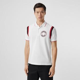 Burberry Logo Graphic Applique Cotton Pique Polo Shirt