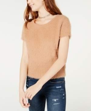 Freshman Juniors' Short-Sleeved Fuzzy Sweater