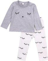 Albee Yang Baby Girl Long Sleeve eye-printed T-shirt and pants outfit clothes set (, Grey)