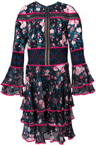 Tadashi Shoji floral frill panel dress - women - Polyester - 6