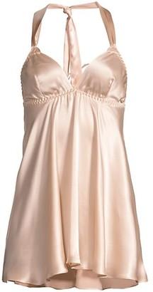 Gilda and Pearl Mia Ostrich Feather-Trim Stretch-Silk Babydoll Slip Dress