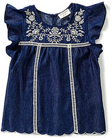 Blu Pepper Big Girls 7-16 Embroidered Chambray Flutter-Sleeve Babydoll Top