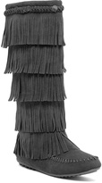 Gray Button Fringe Boot