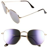 Ray-Ban Women's 54Mm Hexagonal Flat Lens Sunglasses - Gold/ Blue