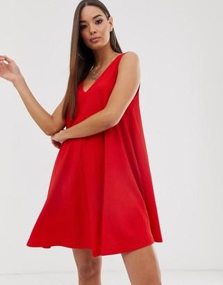Asos Design DESIGN sleeveless textured mini v-neck swing dress