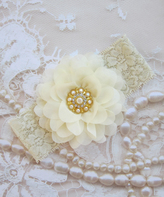 Ivory & Gold Lace Floral Headband