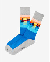 Express sunset print dress socks