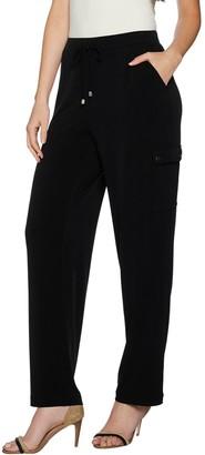 Susan Graver Petite Liquid Knit Pull-On Cargo Pants