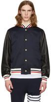 Moncler Gamme Bleu Navy Leather Sleeve Bomber Jacket