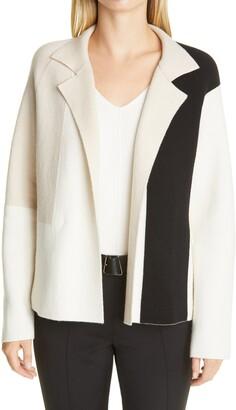 Akris Graphic Intarsia Reversible Cashmere Double Face Cardigan