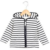 Petit Bateau Girls' Striped Zip-Up Sweater