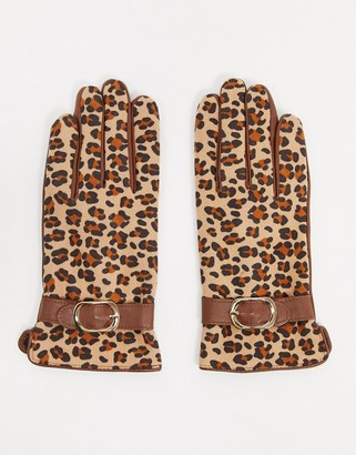 Barneys New York real leather gloves with buckle detail in tan leopard