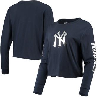 New Era Women's Navy New York Yankees Baby Jersey Long Sleeve Cropped T-Shirt