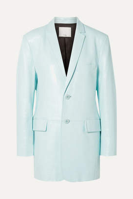Tibi Oversized Glossed-leather Blazer - Turquoise