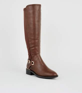New Look Wide Fit Leather-Look Knee High Boots