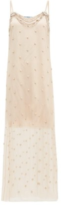 Prada Crystal Embellished Silk Chiffon Dress - Womens - Beige