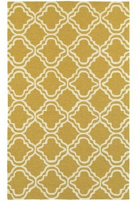 """Tommy Bahama Home Atrium Trellis Panel Gold/Ivory Indoor/Outdoor Area Rug Rug Size: Runner 2'6"""" x 8'"""