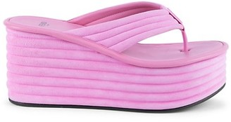 Fendi Suede Platform Thong Sandals