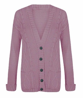 21Fashion Ladies Fancy Chunky Cable Knitted Grandad Cardigan Womens Pockets V Neck Sweater Baby Pink Small/Medium