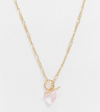 ASOS DESIGN Curve t bar necklace with crystal heart pendant in gold tone