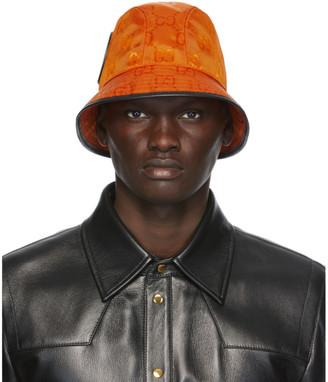 Gucci Orange Off The Grid GG Supreme Bucket Hat