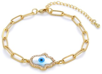 Eye Candy Los Angeles CZ Trim Hamsa Charm Chain Link Bracelet