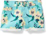 Old Navy Floral Rolled-Cuff Denim Shorts for Girls