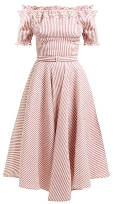 Luisa Beccaria Striped Off-the-shoulder Linen-blend Midi Dress - Womens - Red Stripe