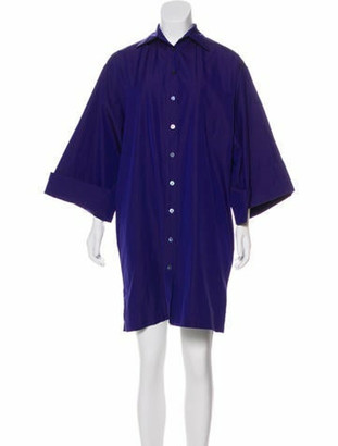Hermes Button-Up Mini Dress Purple
