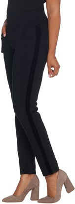 Belle By Kim Gravel Velvet Trim Ponte Slim Pants