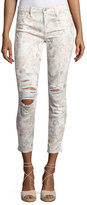 7 For All Mankind The Ankle Skinny Floral-Print Jeans with Distressing, White