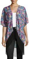 Romeo & Juliet Couture Kaleidoscope-Print Fringe-Hem Kimono, Teal/Multi