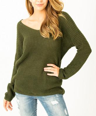 Angele Mode Women's Pullover Sweaters Khaki - Khaki V-Neck Dolman Sweater - Women